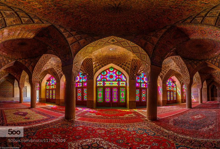 Nasir-al-Mulk mosque - Pinned by Mak Khalaf The Nasir al-Mulk Mosque is in Shiraz Iran located in Goade-e-Araban place (near the famous Shah Cheragh mosque). The mosque was built during the Qajar era and was finished in 1888. The mosque extensively uses colored glass in its facade. This photo is is a HDR 180 Panorama edited only in Lightroom 6. City and Architecture HDRIranMosqueNasir-al-MulkPanoramaShiraz by Siavash-G