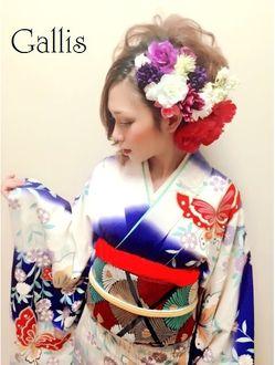 ギャリス 心斎橋本店ヘアメイク専門(Gallis)【Gallis】成人式☆サイドスジ盛りアップ