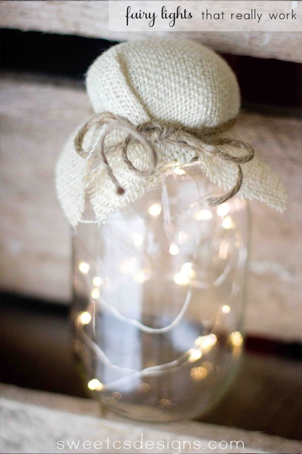 fairy lights in a jar- such a cute touch for an outdoor picnic, party or as wedding favors! And these actually work!