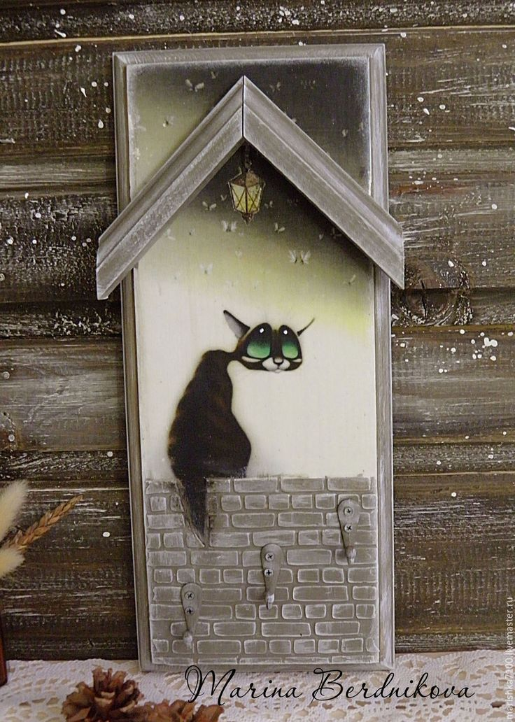 "Купить ""Лунный кот"". Вешалка-ключница - серый, ключница, ключница ручной работы, Ключница декупаж"