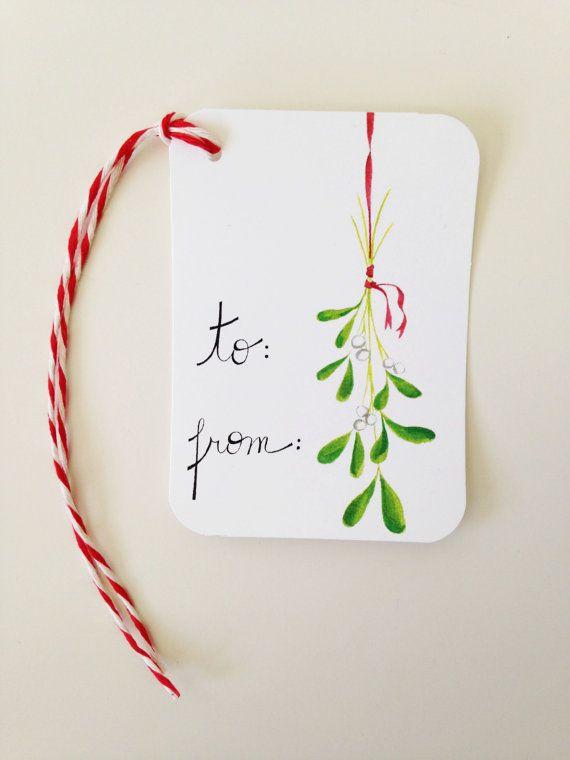 Christmas Gift Tags // Mistletoe Gift Tags // Holiday Gift Tags