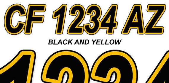 Yellow to Red Custom Boat Registration Number Decals Vinyl Lettering Stickers