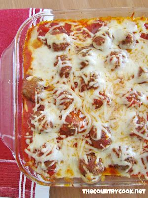 The Country Cook: Meatball Sub Casserole Could use turkey meatballs.