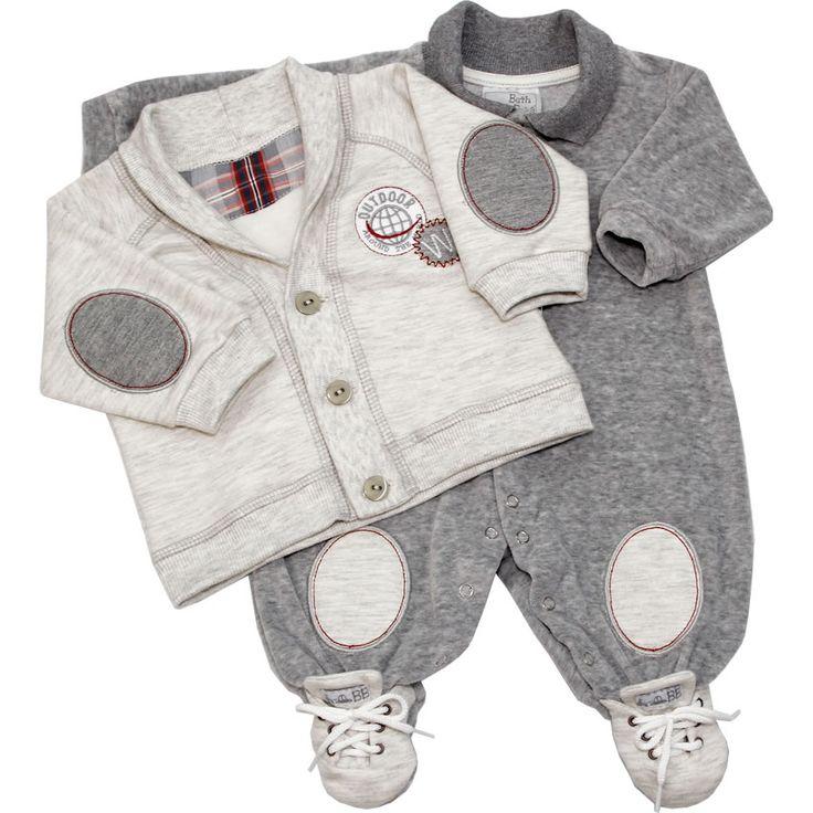 Macacão Recém Nascido e Bebê Menino com Casaco Cinza - Beth Bebê :: 764 Kids   Roupa bebê e infantil
