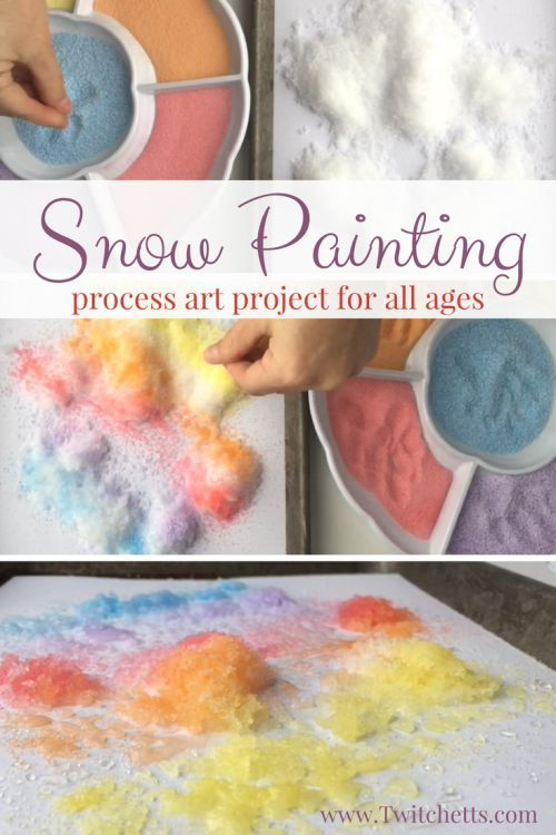 Colored Salt Snow Art - Winter Crafts for Kids a fun Process art Project for kids of all ages! #snowpainting #winterart #processart #snowart #saltpainting #artprojectsforkids #twitchetts