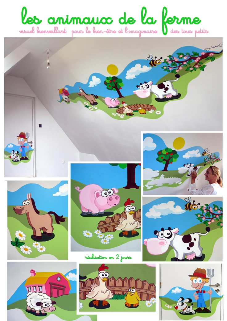 Les animaux de la ferme fresque murale peinte au pinceau kid s room pint - Fresque murale moderne ...