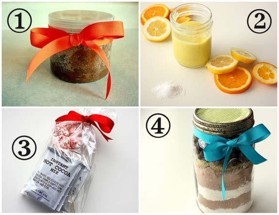 Homemade christmas gifts. Sugar scrub, citrus scrub, hot cocoa mix and peppermint marshmallows, and cookie mix.