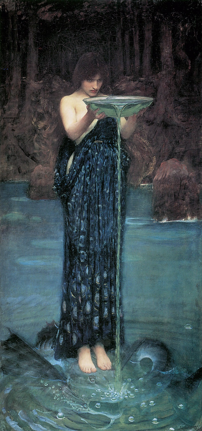 John William Waterhouse: Circe Invidiosa c.  1892 :: I'd love to see this restored or even do it digitally myself. In the larger image you can see the severe cracks in the oil and discoloration and fading of the paint. It's just so beautiful.