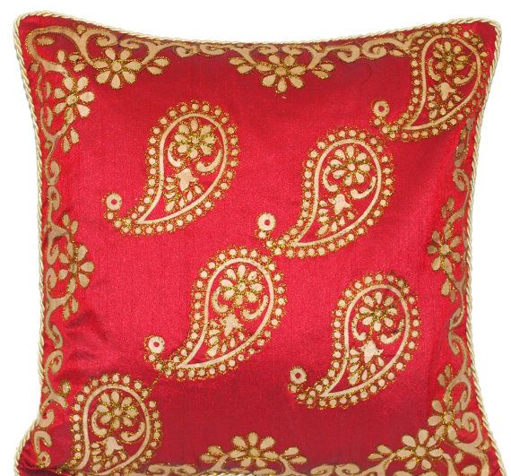 Exceptional Red Wedding   Red Silk Throw Pillow With Hand Painted Gold Paisley  Pattern..perfect
