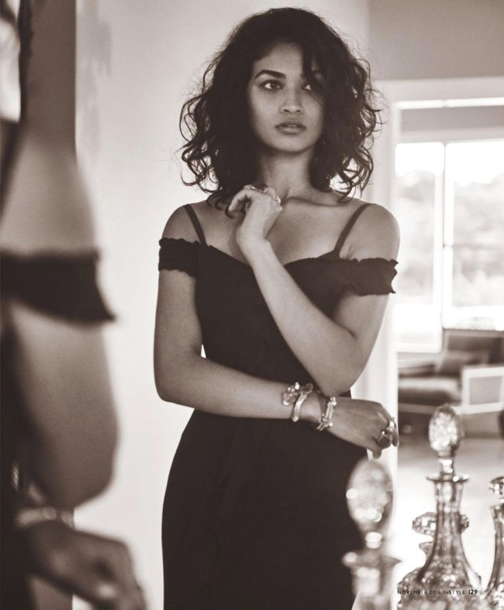 Shanina Shaik wears little black dress from Camilla and Marc