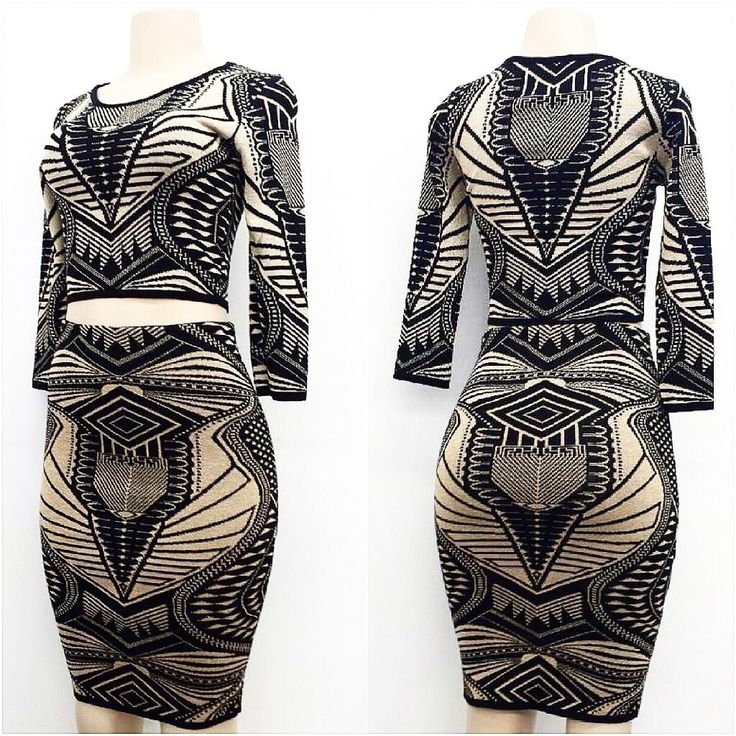 Image of Black & Gold Aztec two piece Set or Dress