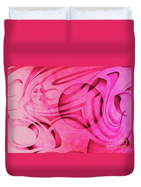Woman In Pink - Psychedelic Lady Duvet Cover by Simon Knott