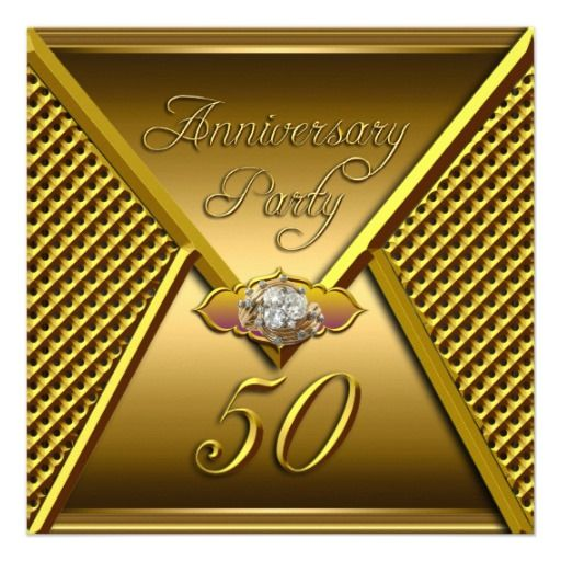 Golden 50th Anniversary Elegant Wedding Gold Card