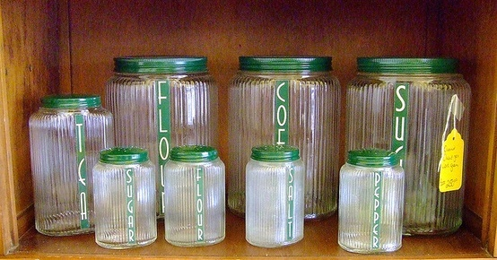 Vintage canisters and jars for my Hoosier Cabinet...