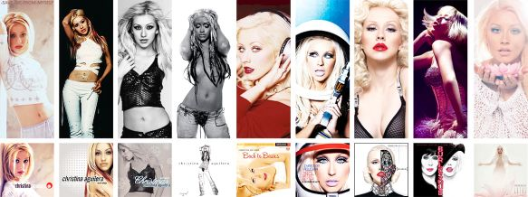 All the albums by Christina Aguilera. Christina Aguilera, Mi Reflejo, My kind of Christmas, Stripped, Back to Basics, Keeps gettin'n better: a decade of hits, Bionic, Burlesque soundtrack with Cher and Lotus. New album coming out later in 2015!