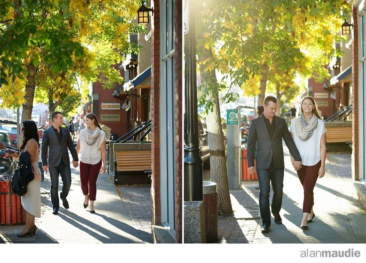 Calgary engagement session in Kensington in the Fall.  Autumn portrait session in Calgary
