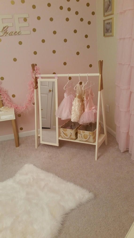 This adorable custom made dress up wardrobe rack with attached full length mirror is a wonderful addition to your little ones creative play, but also an elegant piece to store her precious princess collection. This dress up wardrobe rack is also a great addition for your little boy's