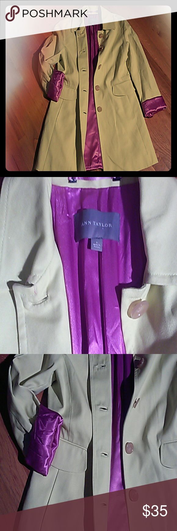 Ann Taylor rain coat Yellow green with purple lining.great condition ann Taylor Jackets & Coats Trench Coats