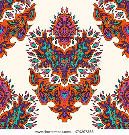 Hand drawn highly detailed oriental seamless pattern. Endless ornate background…