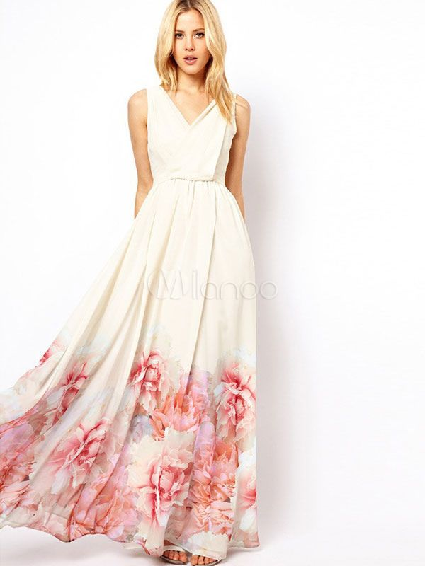 White Maxi Dress Boho Chiffon V Neck Sleeveless Floral Printed Pleated Long Dress