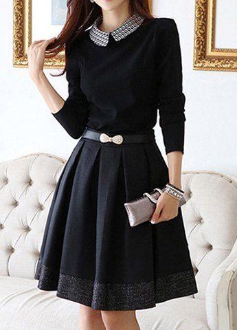 Ethnic Style Scoop Neck Tiny Floral Print Color Block Long Sleeve Women's DressPrint Dresses | RoseGal.com