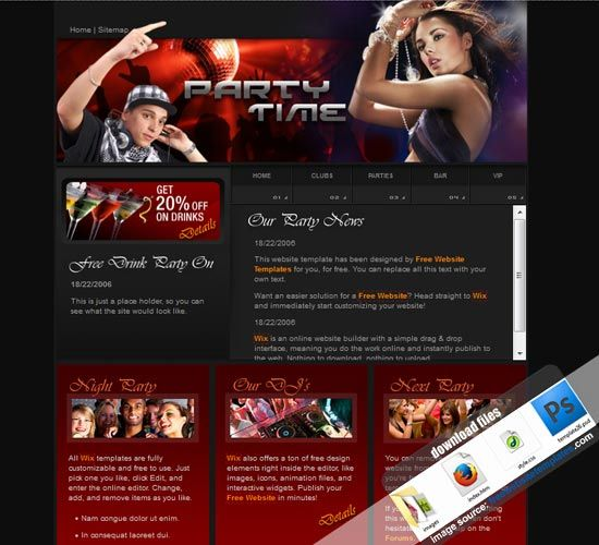 204 best free website templates sample images on pinterest music dj website template music video dj party website free template download musicdjwebsitetemplate pronofoot35fo Gallery
