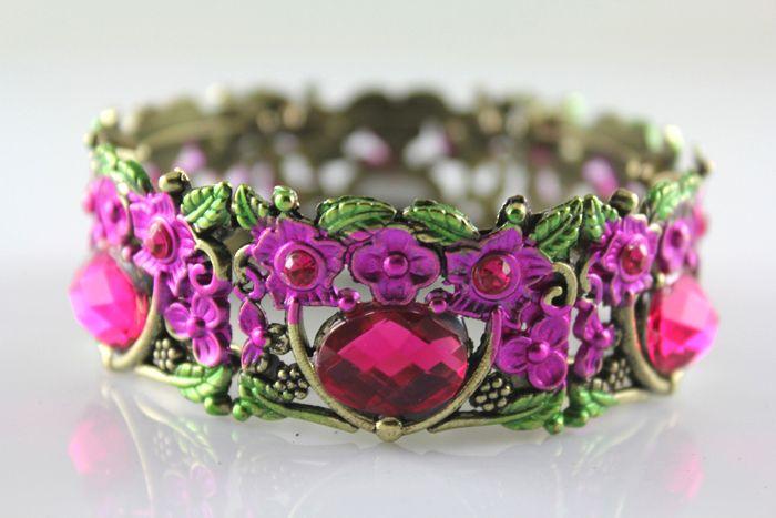 Stunning Flower Rhinestone Crystal Copper Opened Bangle