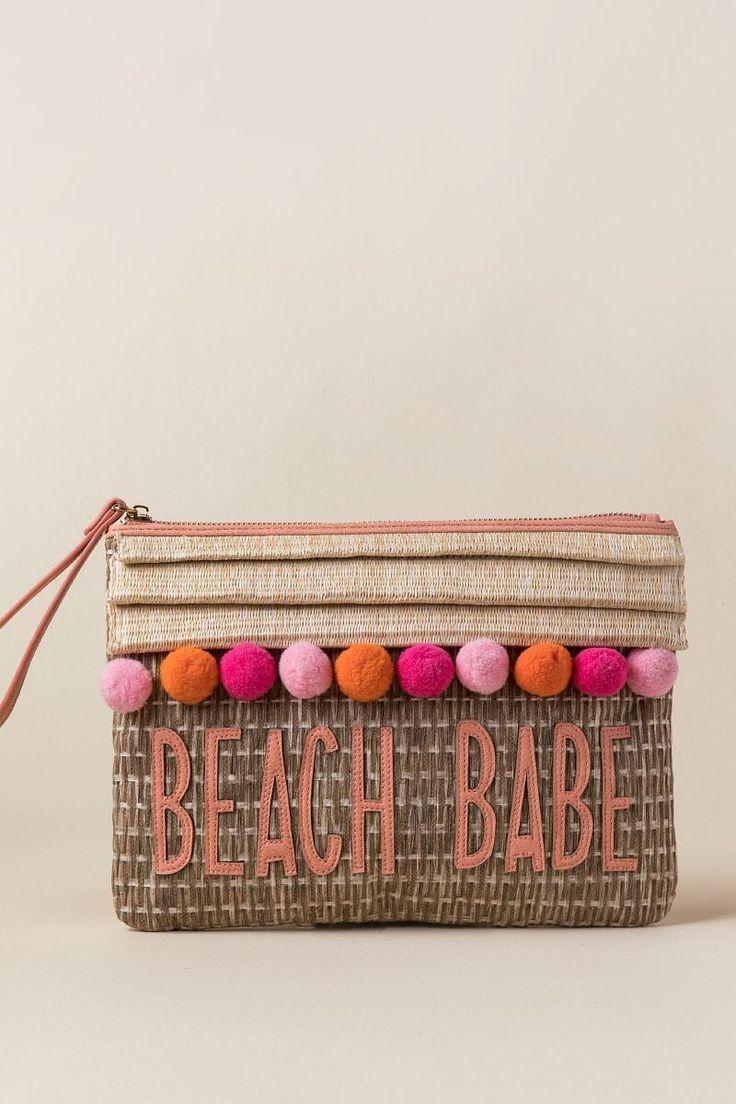 Beach Babe Pom Wristlet Clutch