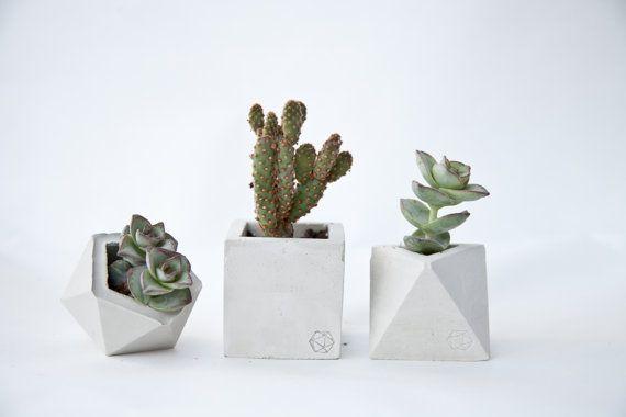 Concrete Geometric Original Set of 3  small by ConcreteGeometric