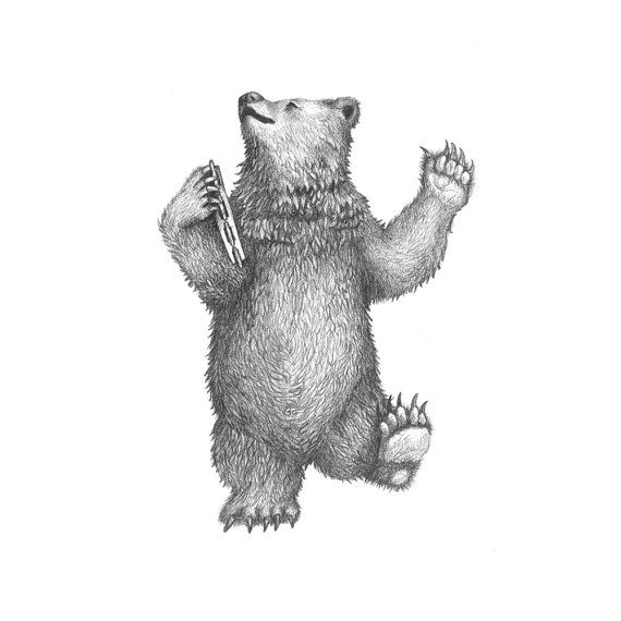 5x7 ORIGINAL PENCIL ILLUSTRATION of Dancing Bear by HansMyHedgehog, $200.00
