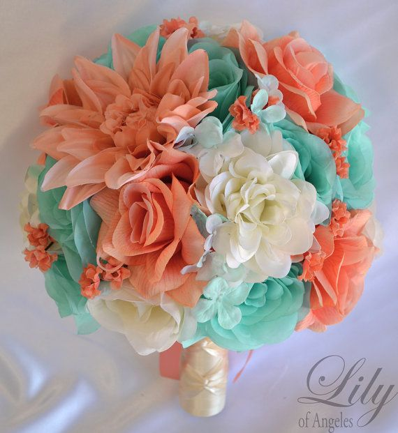 "17 Piece Package Wedding Bridal Bouquet Silk Flowers Bouquets Maid Bridesmaid Party CORAL ROBIN'S Egg Blue SPA Pool ""Lily of Angeles TICO01"
