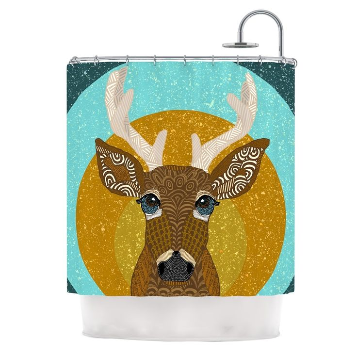 "Kess InHouse Art Love Passion ""Stag in Grass"" Yellow Blue Shower Curtain"