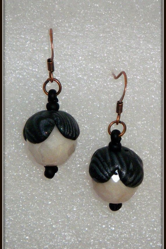 Elegant Dangle Earrings Beaded Earrings Black and White by FromK