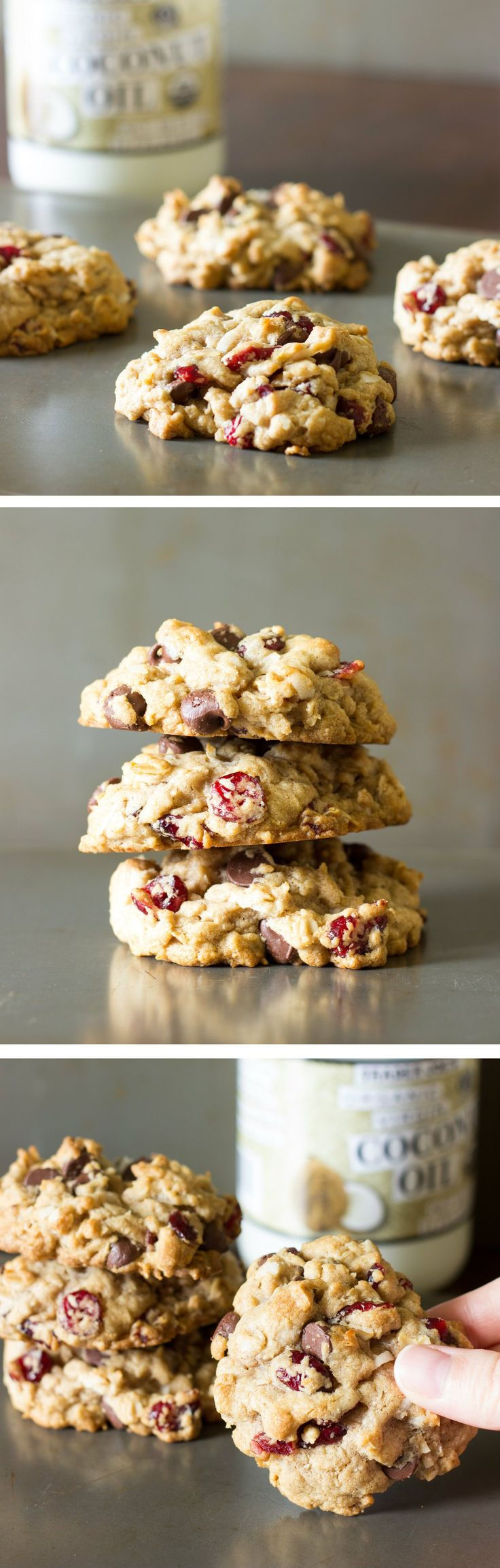 Cookies loaded with chocolate chips, oats, dried cranberries, shredded coconut, and coconut oil instead of butter.