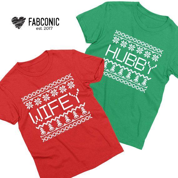 Christmas Couples Hubby Wifey Christmas Shirts Matching