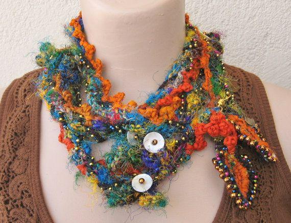 Sari silk yarn necklaceColorful sari silk yarn with by Huchis, $35.00