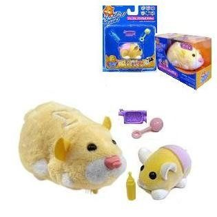 Zhu Zhu Pets Hamster and Baby - Butter Cheeks and Pipsqueak by Cepia. $36.76. ZHU ZHU PETS HAMSTER AND BABY. ZHU ZHU PETS - PLUSH INTERACTIVE TOY; ZHU ZHU HAMSTER BABIES - NONMOTORIZED ACCESSORY. TWO BRAND NEW FACTORY SEALED BOXES. PIPSQUEAK - YELLOW HAMSTER. BUTTER CHEEKS - YELLOW BABY W/PINK DIAPER; SOAP; RATTLE & BOTTLE (ACCESSORY COLOR WILL VARY). Each Zhu Zhu Hamter has its own unique personality & whimsical sounds. Loving Mode: Pet them, love them, hear them chatter Explo...
