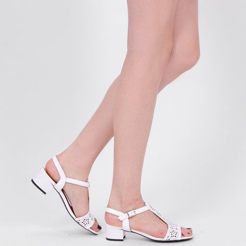 Sandale albe din piele naturala Randy