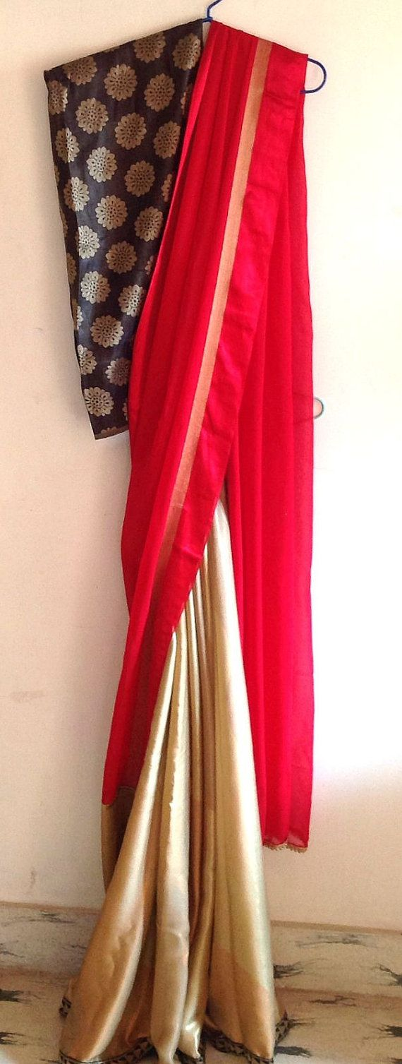 Red and gold saree in non transparent floaty by GiaExquisiteIndian