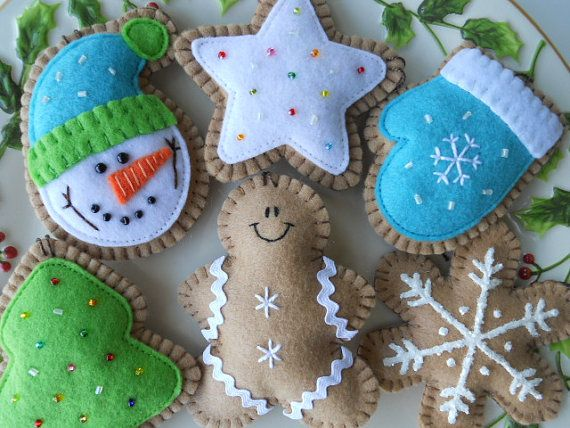Sweet Ginger Cookie Tree Ornaments - Christmas Ornaments - Felt Winter Ornaments