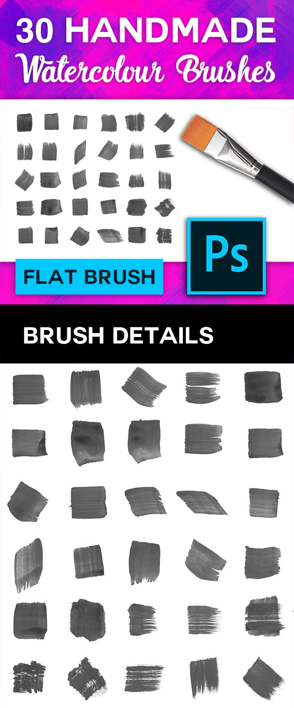 30 Flat Tip Watercolour Brushes Flat Brush Photoshop Brushes