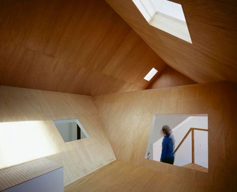 attic plywood modern interior