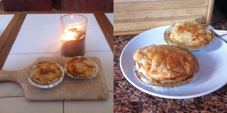 homemade South African style chicken and mushroom pies.