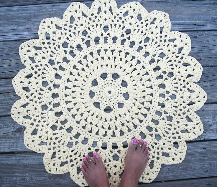 Ery Yellow Cotton Crochet Doily Rug In 30 Circle Lacy Pattern Non Skid 55 00