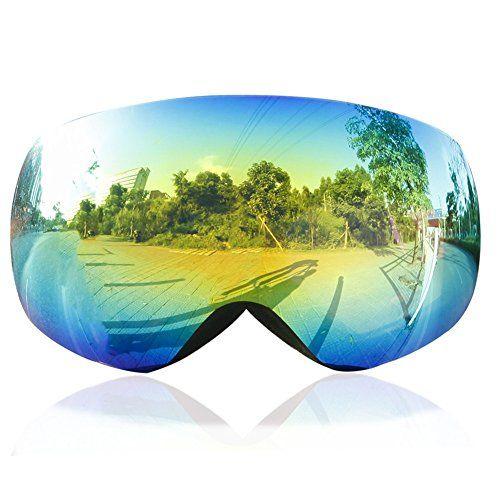 Ski Goggles,KAMUGO Snowboard Snowmobile Snow Goggles with UV400 Protection Anti-fog Spherical Frameless Detachable Dual Lenses for Men&Women