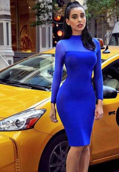 Miriam Blue Sheer Long Sleeve Bandage Dress