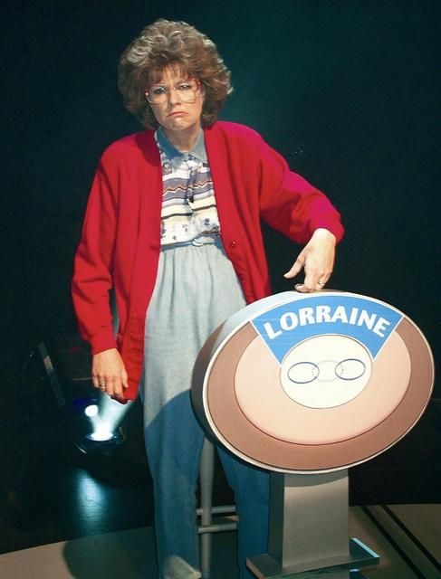 Uh-uh-uh (coughing noise).  Goddddd that's cute. - Lorraine Swanson from Mad TV