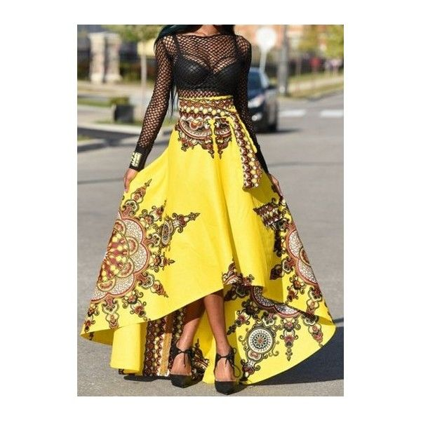 Rotita Yellow African Print Royal Skirt ($27) ❤ liked on Polyvore featuring skirts, asymmetrical skirts, african maxi skirts, african print skirt, embellished skirts and african skirts