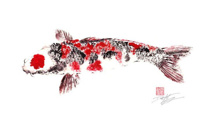 Last one japanese koi giclee gyotaku print for Koi fish japanese art