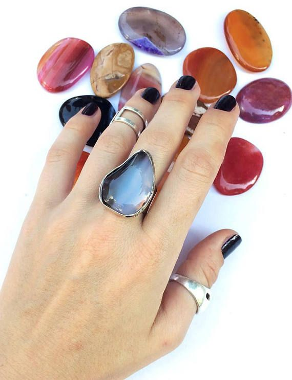 Agate ring big ring with stone agate stone ring brown